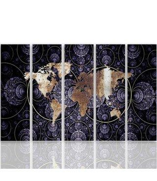Schilderij Psychedelische Wereld, Wereldkaart, 300x140cm, Vijfluik