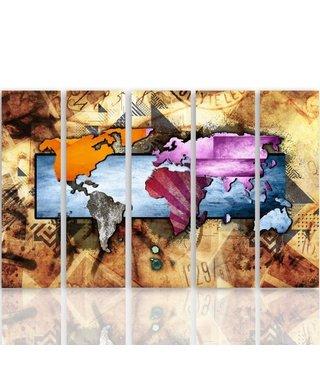 Schilderij Wereldkaart in compositie, XXL, Vijfluik, 4 maten