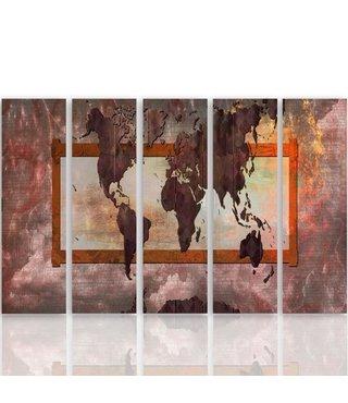 Schilderij De moderne Wereld, Wereldkaart, 5luik, XXL, 4 maten