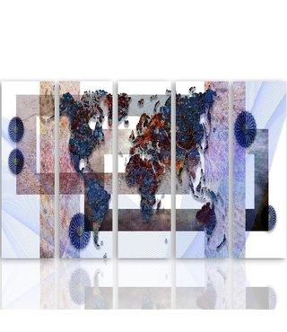 Schilderij Wereldkaart in kaders, XXL, Vijfluik, 4 maten