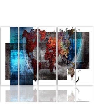 Schilderij De wereld in kaders, XXL, vijfluik, 4 maten