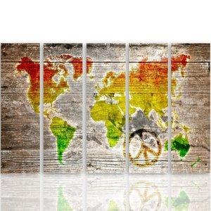 Schilderij Wereldkaart op hout look (canvas schilderij) vijfluik, XXL