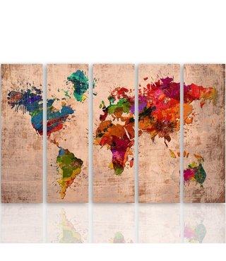 Schilderij Wereldkaart kleuren op roze, vijfluik, XXL, 4 maten
