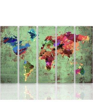 Schilderij Wereldkaart in kleuren, XXL, vijfluik, 4 maten