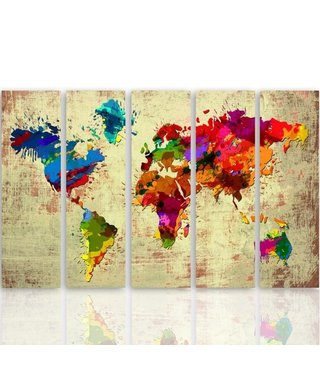 Schilderij Kleurrijke wereld, XXL, vijfluik, 4 maten
