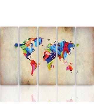 Schilderij Bonte wereld van vandaag, Vijfluik, XXL, 4 maten