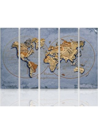 Schilderij De krant op wereldkaart, vijfluik, XXL, 4 maten