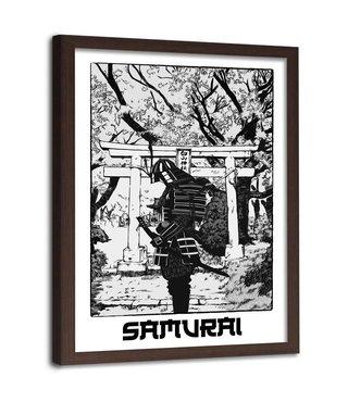 Foto in frame , Zwarte Samurai  ,70x100cm , zwart wit , wanddecoratie