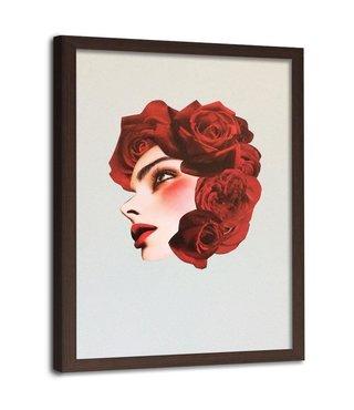 Foto in frame , Vrouw met rozen als haar ,70x100cm , rood zwart  , wanddecoratie