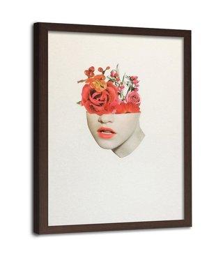 Foto in frame , Half vrouwen gezicht met Rode rozen ,70x100cm , wit beige , wanddecoratie