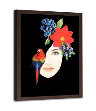 Foto in frame , Vrouwen gezicht met vogel en bloemen ,70x100cm , Multikleur , wanddecoratie
