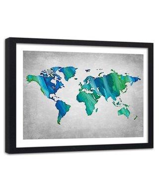 Foto in frame , Wereld in blauw groen , Wereldkaart , 120x80cm , wanddecoratie , Premium print