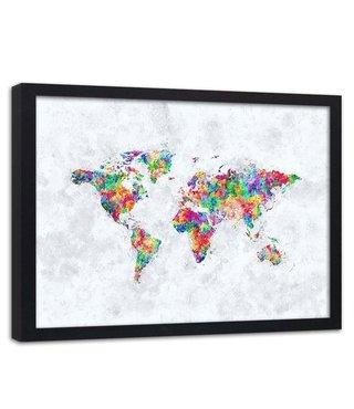 Foto in frame , Gekleurde Wereld ,Wereldkaart , 100x70cm , multikleur , wanddecoratie