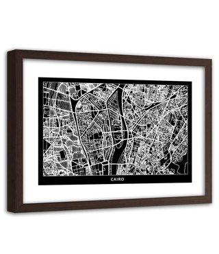 Foto in frame , Plattegrond Caïro , 120x80cm , Zwart wit , wanddecoratie