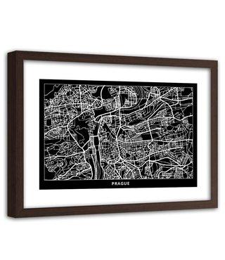 Foto in frame , Plattegrond Praag , 120x80cm , Zwart wit , wanddecoratie