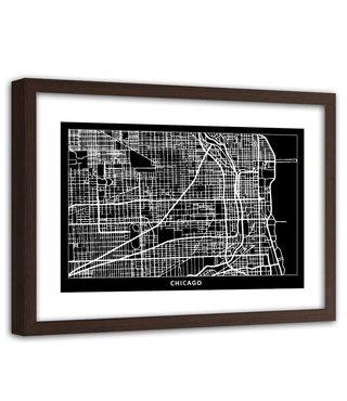 Foto in frame , Plattegrond Chicago , 120x80cm , Zwart wit , wanddecoratie