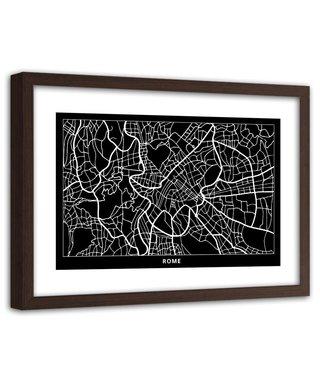 Foto in frame , Plattegrond Rome , 120x80cm , Zwart wit , wanddecoratie