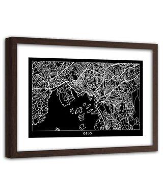 Foto in frame , Plattegrond Oslo , 120x80cm , Zwart wit , wanddecoratie
