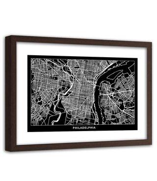 Foto in frame , Plattegrond Philadelphia , 120x80cm , Zwart wit , wanddecoratie