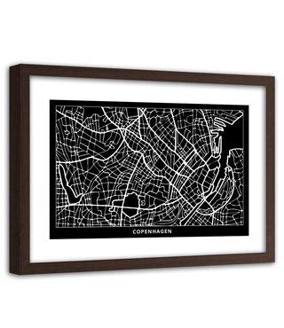 Foto in frame , Plattegrond Kopenhagen , 120x80cm , Zwart wit , wanddecoratie