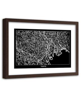 Foto in frame , Plattegrond Tokyo , 120x80cm , Zwart wit , wanddecoratie