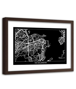 Foto in frame , Plattegrond Rio De Janeiro , 120x80cm , Zwart wit , wanddecoratie