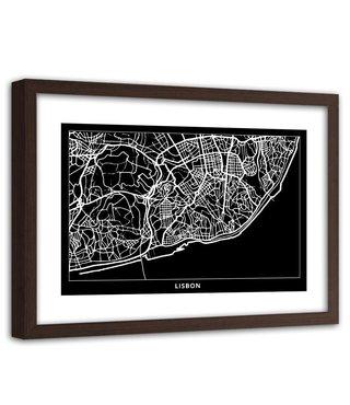 Foto in frame , Plattegrond Lissabon , 120x80cm , Zwart wit , wanddecoratie