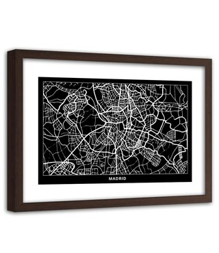 Foto in frame , Plattegrond Madrid , 120x80cm , Zwart wit , wanddecoratie