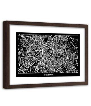 Foto in frame , Plattegrond Brussel , 120x80cm , Zwart wit , wanddecoratie