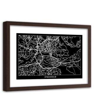 Foto in frame , Plattegrond Stockholm, 120x80cm , Zwart wit , wanddecoratie