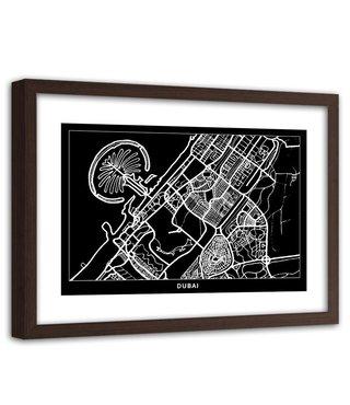 Foto in frame , Plattegrond Dubai City, 120x80cm , Zwart wit , wanddecoratie