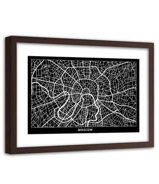 Foto in frame , Plattegrond Moscou  , 120x80cm , Zwart wit , wanddecoratie
