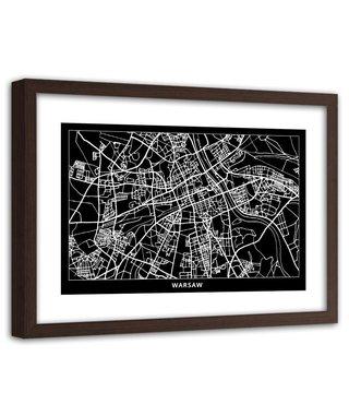 Foto in frame , Plattegrond Warschau  , 120x80cm , Zwart wit , wanddecoratie
