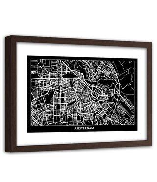 Foto in frame , Plattegrond Amsterdam  , 120x80cm , Zwart wit , wanddecoratie