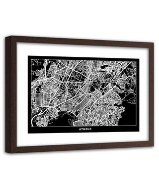 Foto in frame , Plattegrond Athene  , 120x80cm , Zwart wit , wanddecoratie