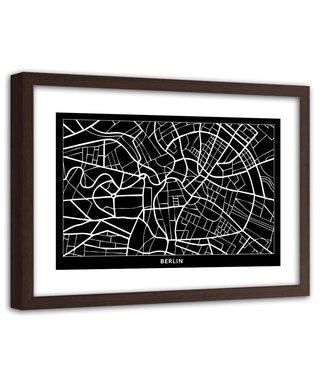 Foto in frame , Plattegrond Berlijn , 120x80cm , Zwart wit , wanddecoratie
