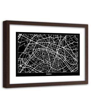 Foto in frame , Plattegrond in Zwart wit , 120x80cm , Zwart wit , wanddecoratie
