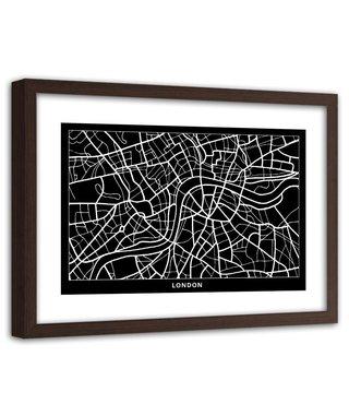 Foto in frame , Plattegrond Londen , 120x80cm , Zwart wit , wanddecoratie