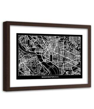 Foto in frame , Plattegrond Washington , 120x80cm , Zwart wit , wanddecoratie