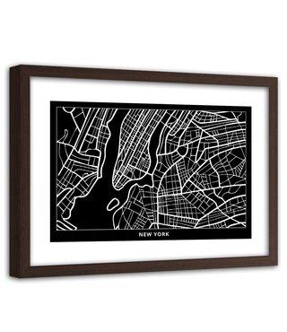 Foto in frame , Plattegrond Brno , 120x80cm , Zwart wit , wanddecoratie