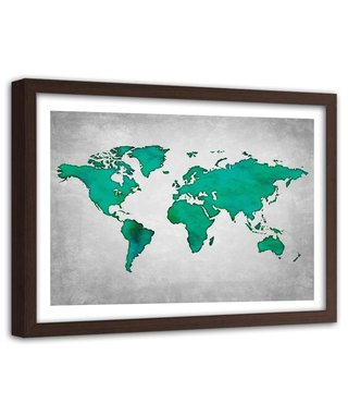Foto in frame , wereld in Groene tinten , 120x80cm , Groen grijs , wanddecoratie , Premium print