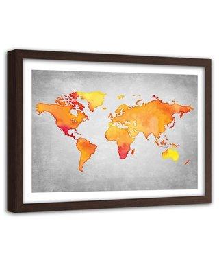 Foto in frame , wereld in Oranje tinten , 120x80cm , Oranje grijs , wanddecoratie , Premium print