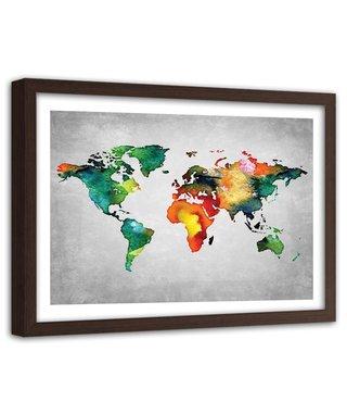 Foto in frame , Gekleurde Wereldkaart 3 , 120x80cm , multikleur , wanddecoratie , premium print