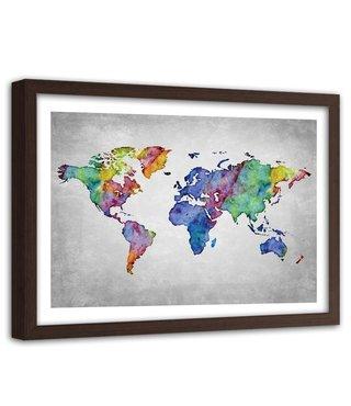 Foto in frame , Wereld in kleur 2 , Wereldkaart , 120x80cm , wanddecoratie ,Premium print