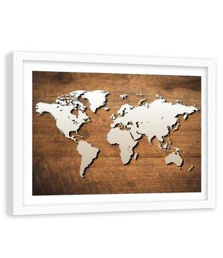 Foto in frame , Wereld op houten plank , 120x80cm , bruin beige , wanddecoratie
