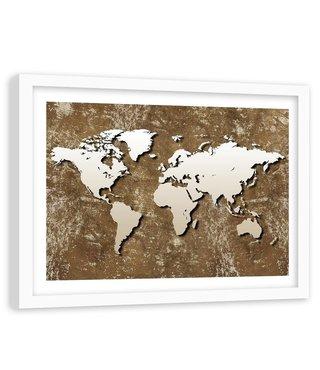 Foto in frame , Oude retro wereld , 120x80cm , bruin beige , wanddecoratie