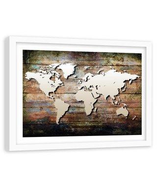 Foto in frame , Wereld op planken , 120x80cm , bruin beige , wanddecoratie