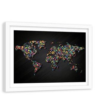 Foto in frame , Wereld met gekleurde stippen , 120x80cm , Multikleur , wanddecoratie