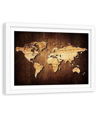 Foto in frame , Wereld van hout , houtlook , 120x80cm , bruin zwart , wanddecoratie