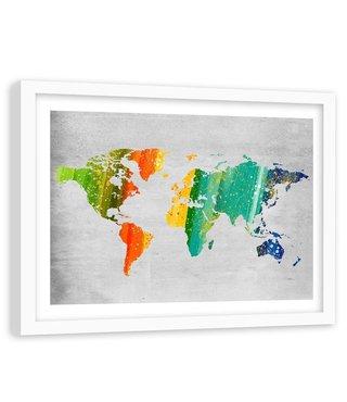 Foto in frame , Wereld in Gekleurde strepen , 120x80cm , multikleur , wanddecoratie